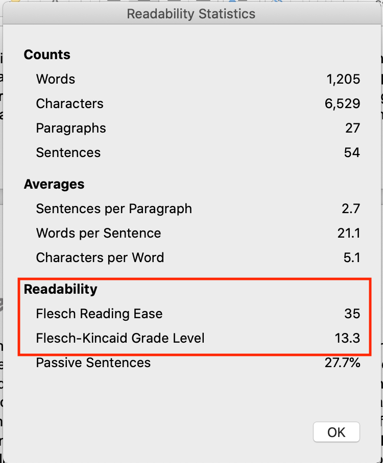 screenshot of Word readability statistics