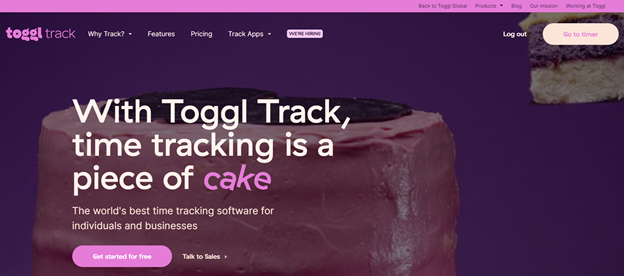 Toggl free time tracking app